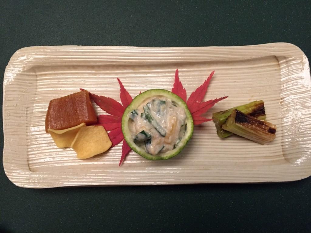 Kyoaji - karasumi, kakinamasu, grilled leek