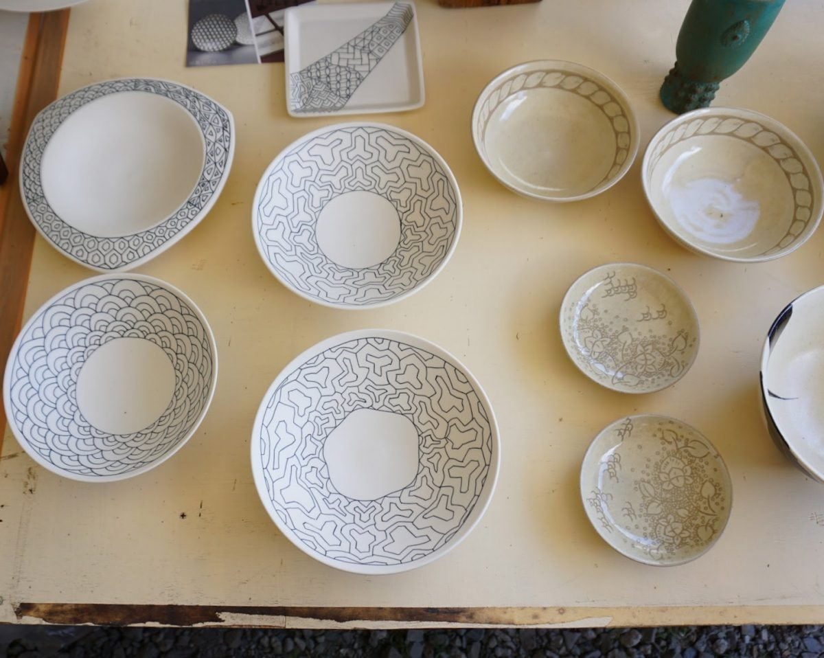 plates by Akito Katsumura at the Mashiko Pottery Fair