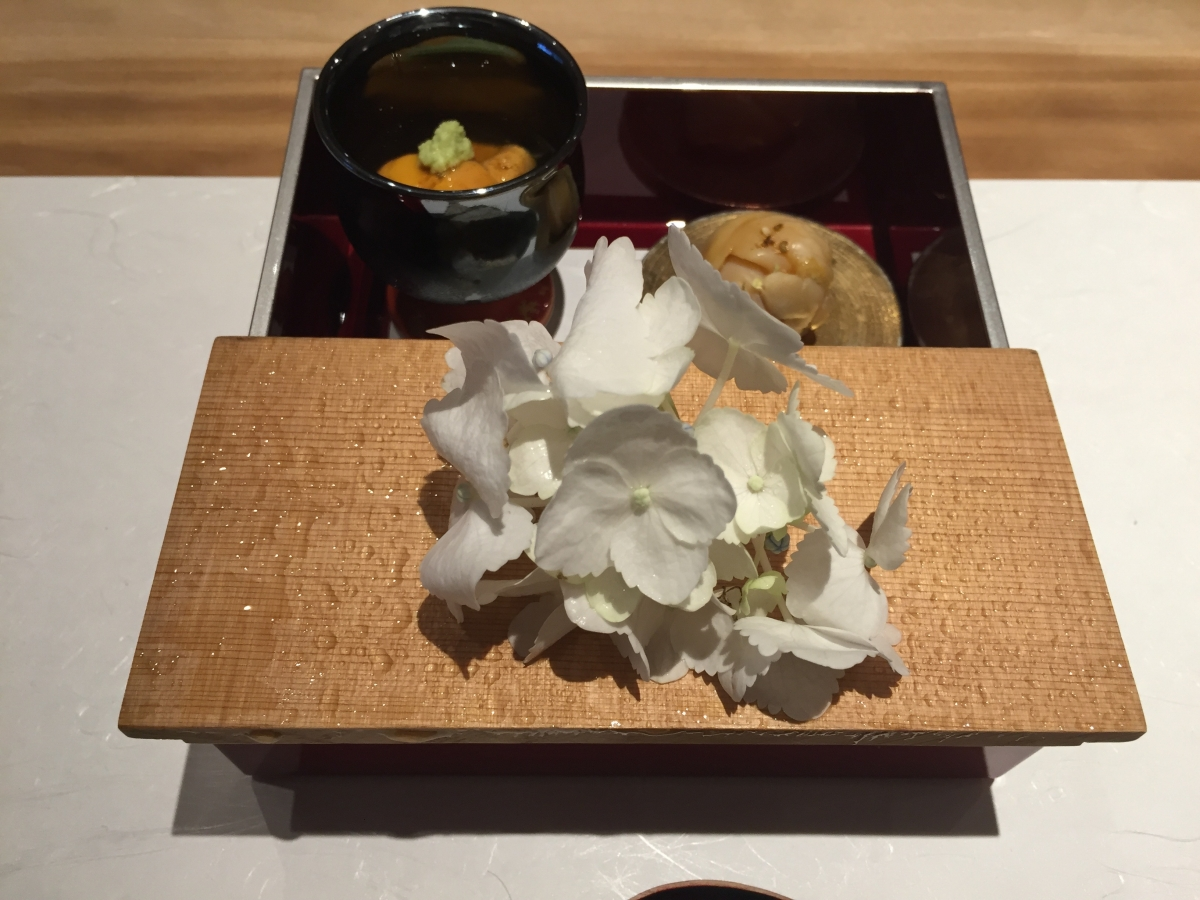 uni, sushi and fried ayu at shirosaka