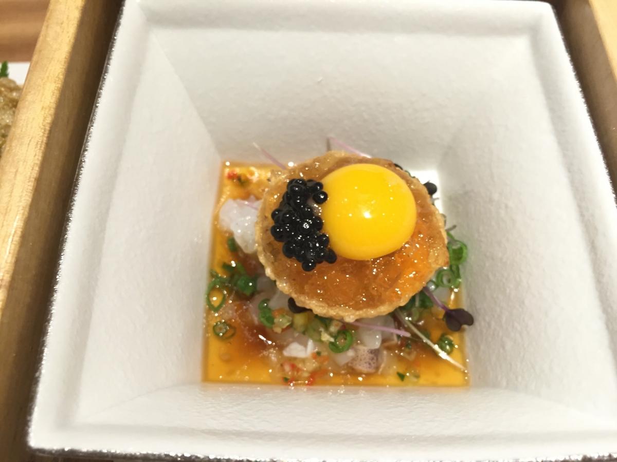 quail egg, nishin eggs, dashi gelee
