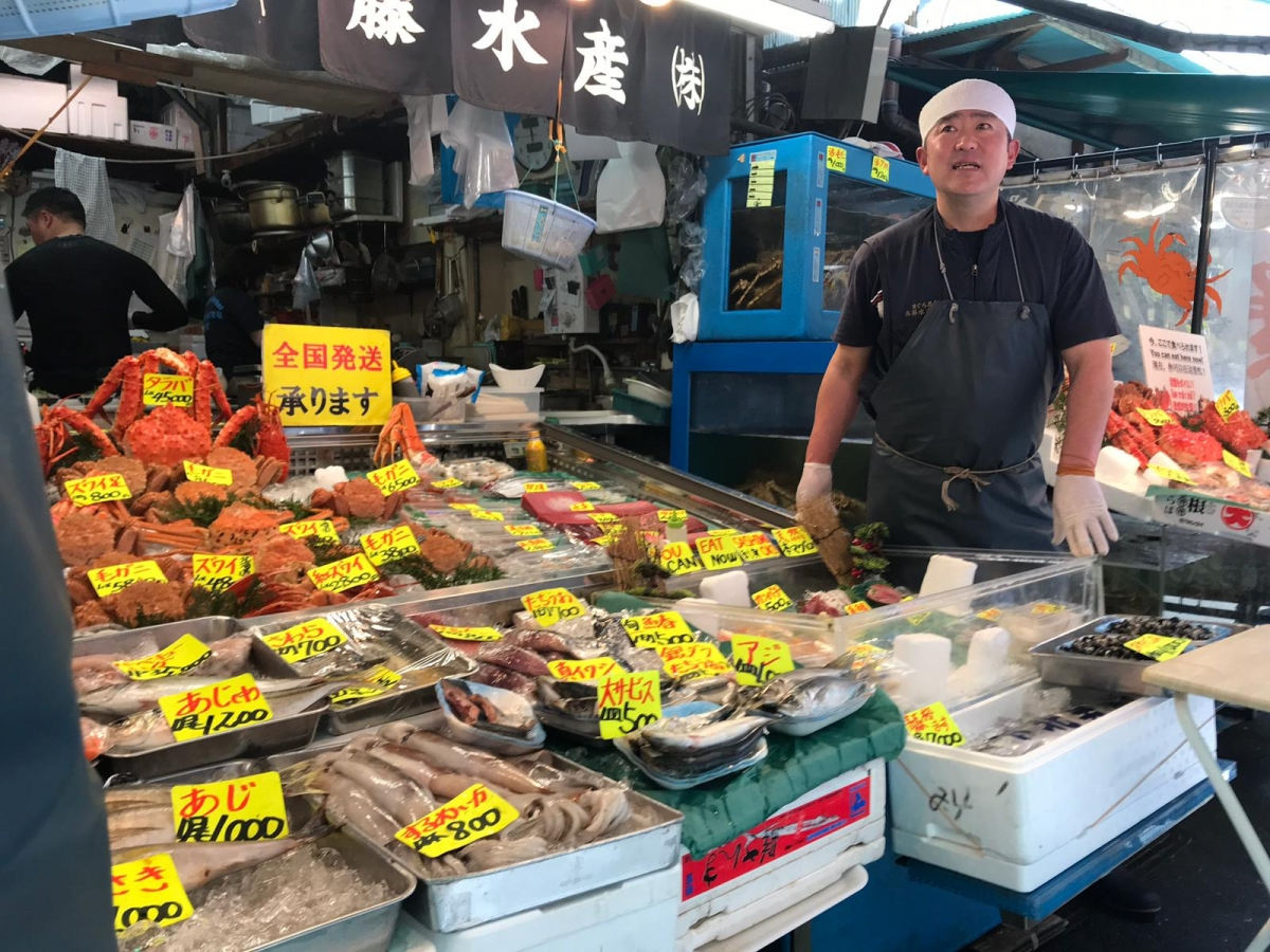 Tsukiji outer market fishmonger